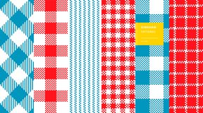 Gingham plaid pattern set. Gingham plaid classic colors seamless pattern high quality set Stock Images