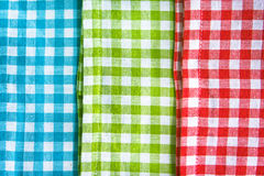 Gingham. Red,green and blue gingham cloths as a background Royalty Free Stock Images