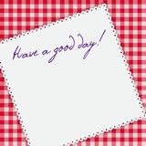 Gingham tablecloth background, napkin with words Royalty Free Stock Photo