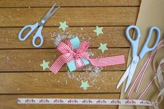 Gingham Wrapped Gift Stock Image