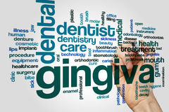 Gingiva word cloud. Concept on grey background Stock Photo