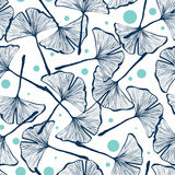 Gingko biloba seamless vector background pattern. Vector seamless pattern design with hand drawn gingko biloba leaves, nature themed repeating background Stock Images