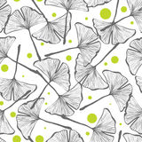 Gingko biloba seamless vector background pattern Royalty Free Stock Images