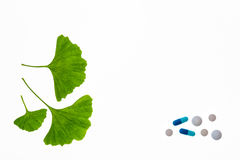 Gingko leaves with various pills Stock Photos