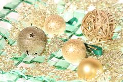 Gingle bell with christmas balls Royalty Free Stock Images
