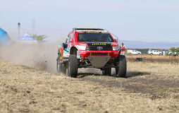Giniel de Villiers and Dirk von Zitzewitztest driving the Toyota. Sun City, South Africa – OCTOBER 1, 2016: Dakar legends Giniel de Villiers and navigator Royalty Free Stock Photography
