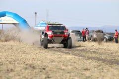 Giniel de Villiers and Dirk von Zitzewitztest driving the Toyota Royalty Free Stock Image