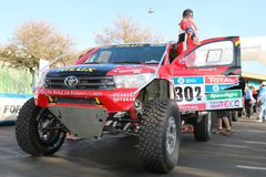 Giniel de Villiers and the new Toyota Hilux Evo 2. Sun City, South Africa – OCTOBER 1, 2016: Dakar legends Giniel de Villiers and the new Toyota Hilux Evo 2 Stock Photo