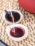 Ginja de Obidos, traditional sour cherry liquor, served in small Royalty Free Stock Photos
