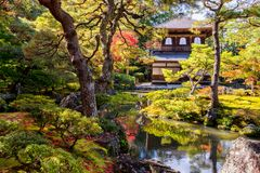 Ginkaku-ji, officially known as a Jisho-ji during the autumn momiji season in Kyoto, Japan stock images
