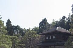 Ginkaku-ji, srebna świątynia uprawia ogródek na słonecznym dniu w Kyoto zdjęcie stock
