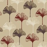 Ginkgo Bilboa leaves. Vector seamless pattern with Ginkgo Bilboa leaves Stock Images