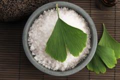 Ginkgo biloba leaf and bath salt Royalty Free Stock Photo