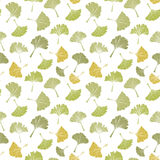 Ginkgo biloba leaf tablecloth seamless pattern. Silhouette of leaves with white veinlets. Isolated vector illustration Royalty Free Stock Photos