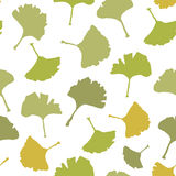 Ginkgo biloba leaf tablecloth seamless pattern. Silhouette of leaves with white veinlets. Isolated vector illustration. Stock Photos