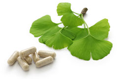 Ginkgo biloba leaves and medicine capsule pills Stock Image