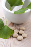 Ginkgo biloba leaves and pills Stock Image