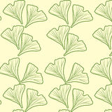 Ginkgo biloba pattern seamless. Silhouette of ginkgo leaves Stock Photos
