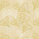 Ginkgo biloba pattern seamless. Silhouette of ginkgo leaves Stock Image