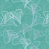 Ginkgo biloba pattern seamless. Silhouette of ginkgo leaves vector illustration