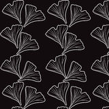 Ginkgo biloba pattern. Silhouette of ginkgo leaves Royalty Free Stock Photo