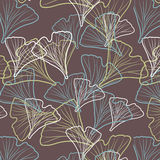 Ginkgo biloba pattern. Silhouette of ginkgo leaves Royalty Free Stock Photos