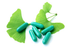 Ginkgo Biloba and pill Stock Photography