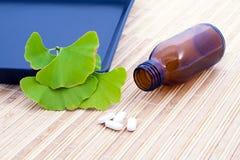 Ginkgo Biloba tree spirit and the medicine. Stock Photos