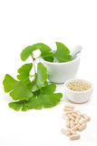 Ginkgo capsules with mortar and pestle Royalty Free Stock Photography