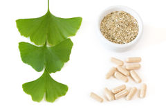 Ginkgo capsules with three leaves Stock Photo