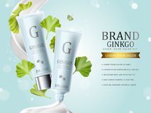 Ginkgo cosmetic ads. Blue plastic tube bottles with ginkgo biloba leaves and cream texture, 3d illustration stock illustration