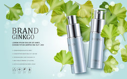 Ginkgo cosmetic ads. Blue spray bottles isolated on bokeh background with ginkgo biloba leaves, 3d illustration stock illustration