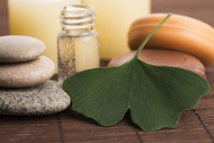 Ginkgo with essential oil Stock Photo