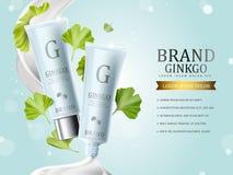 Ginkgo kosmetische advertenties stock illustratie