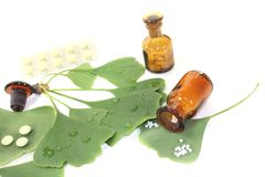 Ginkgo leaf with pills and pharmacist bottle Stock Photography