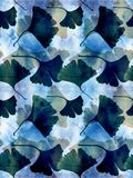 Ginkgo leaves - decorative composition on watercolor background. vector illustration