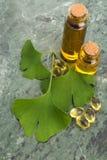Ginkgo met etherische olie royalty-vrije stock foto's