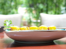 Ginkgo nuts cuisine. A string of delicious fryed ginkgo nuts , an Asia cuisine Stock Image