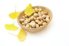 Ginkgo Nuts and leaf Stock Photos