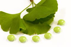 Ginkgo Pills Royalty Free Stock Photography
