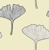 Ginkgo seamless interior wallpaper in retro style Royalty Free Stock Image