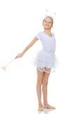 Ginnasta della ragazza con una bacchetta magica in sua mano Fotografia Stock Libera da Diritti