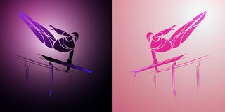 Ginnasta stilizzata e geometrica, barra relativa alla ginnastica, parallele simmetriche Fotografie Stock