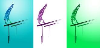 Ginnasta stilizzata e geometrica, barra relativa alla ginnastica, parallele simmetriche Fotografia Stock