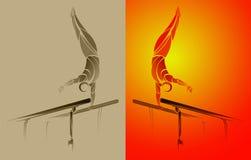 Ginnasta stilizzata e geometrica, barra relativa alla ginnastica, parallele simmetriche Fotografia Stock Libera da Diritti