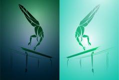 Ginnasta stilizzata e geometrica, barra relativa alla ginnastica, parallele simmetriche Immagini Stock