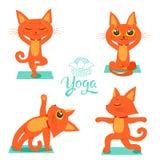 Ginnastica e salute Metta le icone divertenti dei gatti del fumetto che fanno la posizione di yoga Vettore di meditazione del fum illustrazione vettoriale