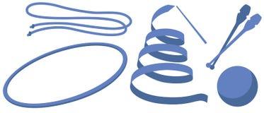 Ginnastica ritmica degli attrezzi per bricolage delle illustrazioni (palla del club del cerchio della corda del nastro) illustrazione di stock