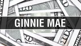 Ginnie Mae Closeup Concept Amerikanische Dollar des Bargeld-, Wiedergabe 3D Ginnie Mae an der Dollar-Banknote Finanz-USA-Geldbank lizenzfreie abbildung