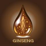 Ginseng ginsengdroppserum, forntida traditionell medicin, skönhetsmedel royaltyfri illustrationer